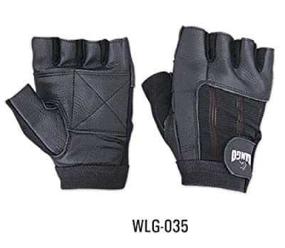 Weight Lifting Padded Leather Gloves - W035 - Fitness Training Body Building Gym Sports & Wheel Chair Use Size