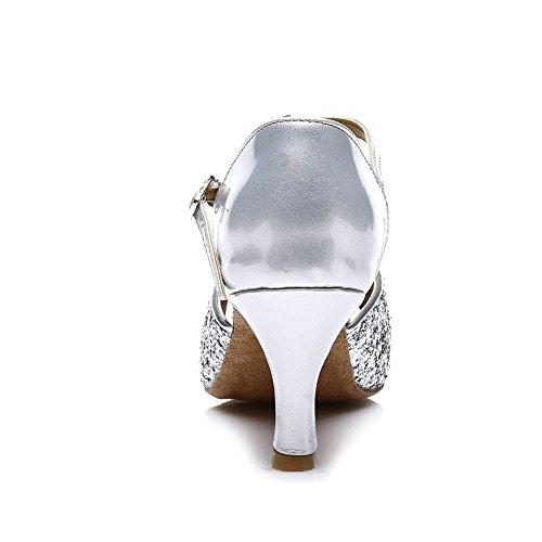 HIPPOSEUS Donna Ballroom Scarpe da ballo /sala da ballo scarpe/Scarpe da ballo latino standard di Raso,Modello-IT216 7CM Argento