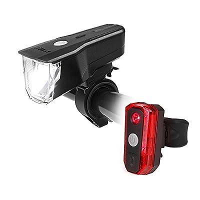BV LED Fahrradbeleuchtung Set, StVZO Zugelassen LED Fahrradlicht Frontlicht und Rücklicht Set, 3 Licht-Modi USB Aufladbare Fahrradlichter, IP44 Wasserdicht LED Fahrradlampe