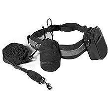 XCSOURCE® Manos libres trotar caminar ajustable de Poliéster mascotas perro Collar correa La bolsa de teléfono/ corriendo cintura cinturón Negro OS705