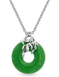 Bling Jewelry CZ Leaves Dyed Green Jade Open Circle Pendant Sterling Silver Necklace 18 Inches