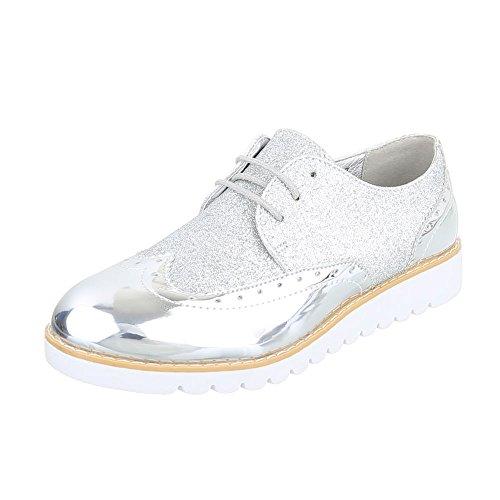 Schnürer Damen-Schuhe Oxford Schnürer Schnürsenkel Ital-Design Halbschuhe Silber, Gr 38, 62036-