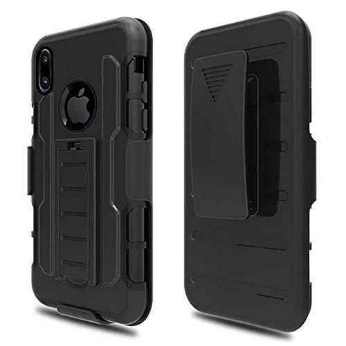 Roar Outdoor Handy Hülle für iPhone 6 / 6S, Handyhülle Schwarz, Schutzhülle Hard Case Panzerhülle, Military Grade, 3-teilig mit Gürtelclip und Displayabdeckung