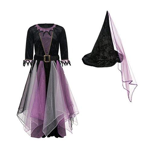 Kostümplanet® Hexen-Kostüm Kinder Mädchen + Hexen-Hut Halloween Hexe lila-schwarz 140 (Mädchen Für Hexe Kostüm)