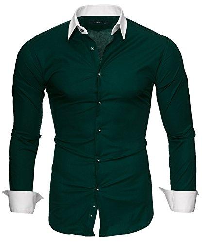 Kayhan Hombre Camisa Mailand, Darkgreen (S)