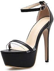 AORRIGELI Ankle Strap Sandals for Women Comfort Single Band Platform Shoes Stiletto Snake Skin Pattern Open To