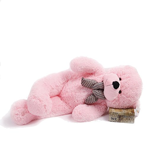 YunNasi Pink Rosa Riesen Teddybär XXL Kuschelbär 120 cm groß Plüschbär Original Teddy Bär mit Schleife Rosa (100CM/39'')