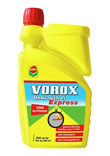 VOROX Unkrautfrei Express, Bekämpfung von Unkräutern an Zierpflanzen, Obst und Gemüse, Konzentrat, 1 Liter
