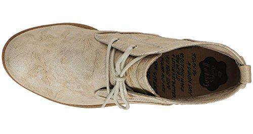 Mustang 1157-554 Schuhe Damen Sommer Stiefeletten Schnür Desert Boots Elfenbein