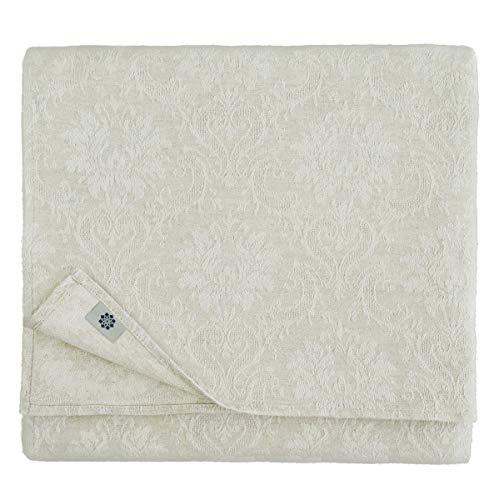 Linen & Cotton Nappe de Luxe Damassée Waverly, 52% Lin, 48% Coton - Naturel/Beige(147 x 250cm)