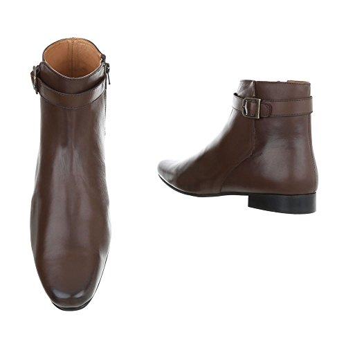 Stivaletti In Pelle Scarpe Da Uomo Chelsea Boots Block Heel Block Tacco Zipper Ital Design Boots Brown