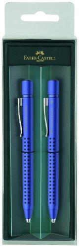 Faber-Castell Grip 2011 – Set de bolígrafo y portaminas, color azul metálico
