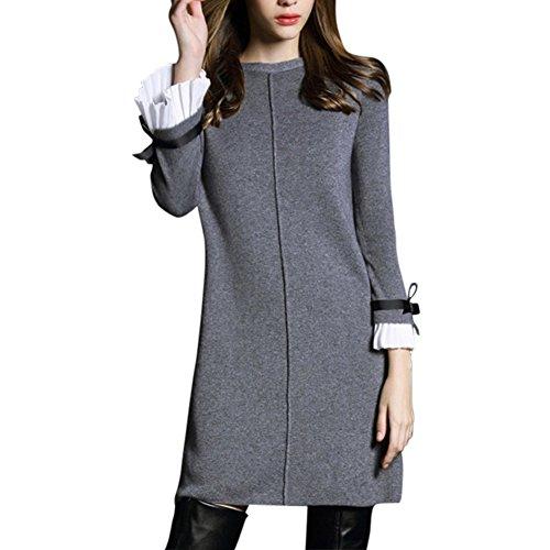 Ou Grid Damen Plus Größe weitem Halsausschnitt, Schleife Flare Sleeve Strick Pullover Kleid Gr. XXX-Large, grau