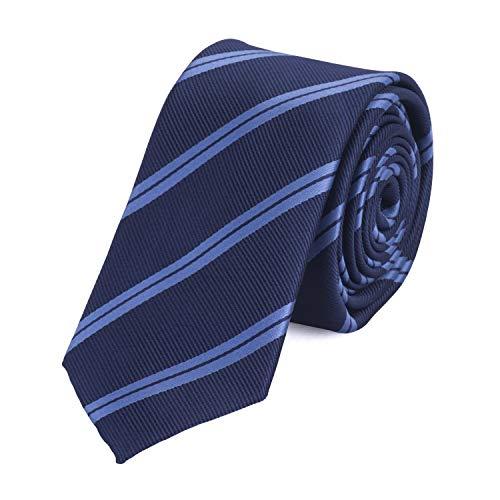 Fabio Farini Gestreifte Krawatte 6cm Breite in verschiedenen Farben für Büro Verein Hochzeit Weihnachten blau
