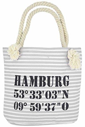 Sonia Originelli XS Shopper Hamburg Shopper Tasche Koordinaten Farbe Rosa-Marine Grau-Schwarz