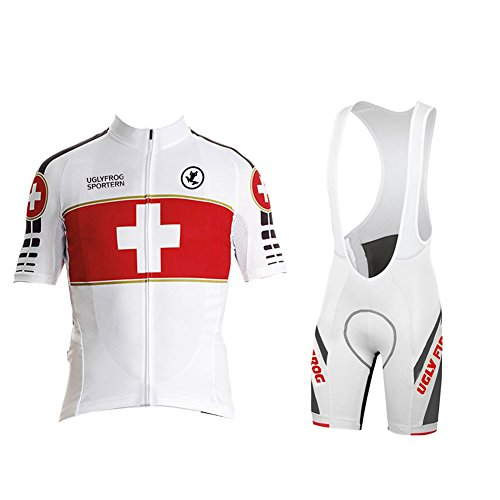 Uglyfrog Design Sommer Herren Atmungsaktiv Cycling Jersey Kurzarm Radsport Shirt Oberteil mit 3D PAD Bib Shorts Set Sportkleidung