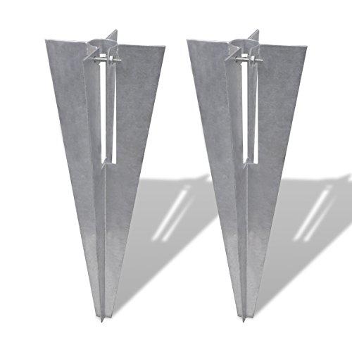 vidaXL 2x Pfostenträger 34 mm Einschlaghülse Bodenhülse Hülse für Zaunpfosten
