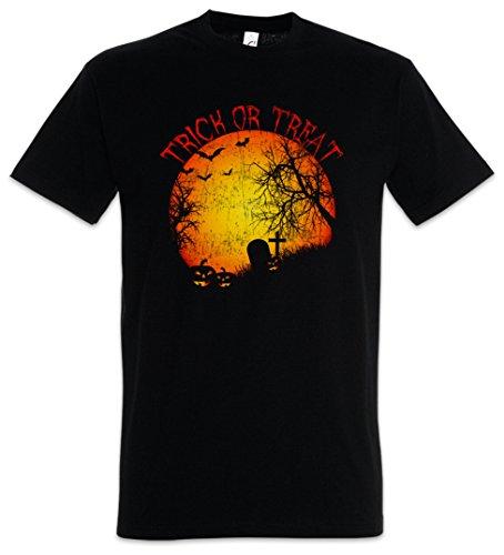 Trick OR Treat T-Shirt - Süßes sonst gibt's Saures Friedhof Grab Graveyard Halloween Samhain USA Creature Splatter Gore Größen S – 5XL