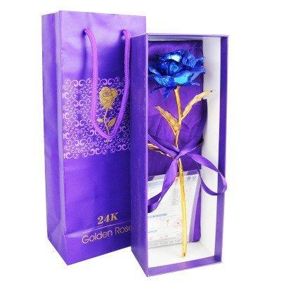 Freeauto 24K Feuille d'or Golden Rose Foil Fleurs 24,4cm fabriqué à la main infini avec boîte cadeau Décoration Rose artificielle Fleurs, Meilleur Cadeau de Saint-Valentin, pour un anniversaire, cadeau pour petite amie, fête, mariage, pour la fête