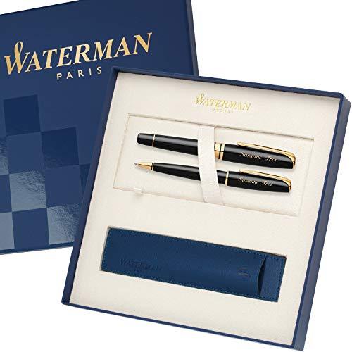 WATERMAN Schreibset CHARLESTON Schwarz G.C. mit persönlicher Laser-Gravur Füllfederhalter und Kugelschreiber im großen Geschenk-Etui