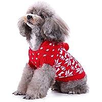 POPETPOP Perro de Navidad Invierno suéter Cachorro Ropa de Nieve Sudaderas con Capucha del Traje Ropa de Perro Mascota de Navidad - Tamaño 2XL (Rojo)