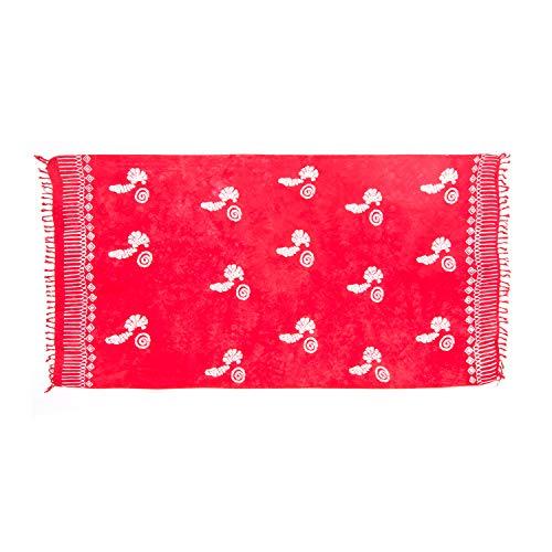 MANUMAR Damen Pareo blickdicht, Sarong Strandtuch in rot mit Muschel Motiv, XXL Übergröße 225x115cm, Handtuch Sommer Kleid im Hippie Look, Sauna Hamam Lunghi Bikini Strandkleid - Red Sari
