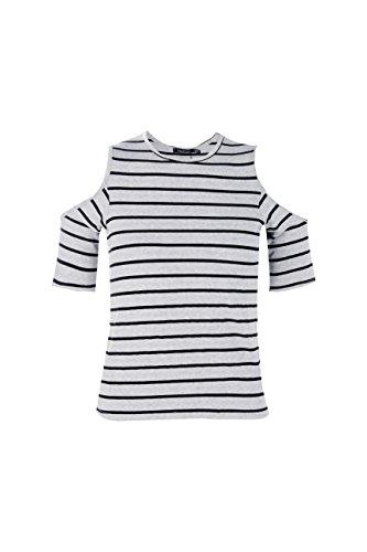 gris Femmes Petite Leanna T-shirt À Rayures Et Épaules Dénudées Gris
