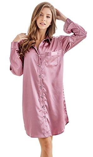 TONY & CANDICE Camicia da notte in raso da donna Sleepwear da donna con bottoni a manica lunga il pigiama in stile boyfriend Borgogna leggera