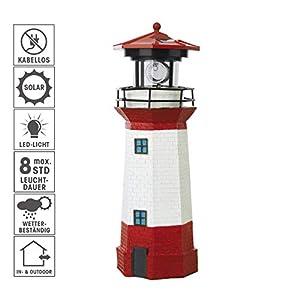 EASYmaxx 08617 Solar-Leuchtturm | 360 Grad, bis zu 8 Stunden LED-Leuchtfeuer | Tageslichtsensor für automatisches Ein- und Ausschalten | Kabellos, Outdoor und Indoor