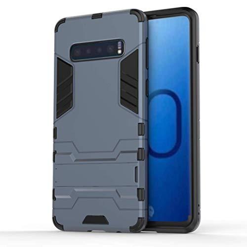 AOBOK Coque Samsung Galaxy S10, Bleu Foncé Élégant Etui Robuste Hybride Armure Hull Couverture, Anti-Scratch, Parenthèse Pliable Housse pour Samsung Galaxy S10 Smartphone