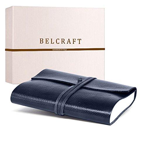 Tivoli A5 mittelgroßes Notizbuch aus recyceltem Leder, Handgearbeitet in klassischem Italienischem Stil, Geschenkschachtel inklusive, Tagebuch A5 (15x21 cm) Blue