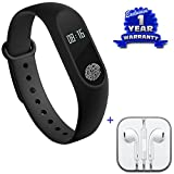Captcha Xiaomi Mi Note 2 Compatible Certified Activity Tracker Bluetooth Smart Sports Fitness Tracker/Heart Rate Monitor/Sleep/Pedometer Wristband & Earphones with Mic (1 Year Warranty)