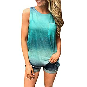 Toxz Womens Round Neck Gradient Printed Sleeveless T-Shirt Tunic Blouse Tanks,Tank Tops//Vest,Leisure and Loose Top with Pocket
