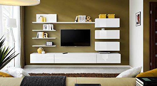 Unbekannt BMF Italien Modern Hochglanz Wohnzimmer/Schlafzimmer/Studio flach-Möbel Set-Wohnwand TV Ständer/Schränke & Regale-nur aus BMF. Modern weiß