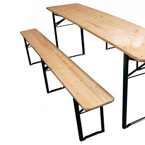 Bierzeltgarnitur klappbar Set 3 teilig Sitzgruppe – Biertisch und Bänke Garten Festzeltgarnitur Faltbar L217 x B48/24 cm Gartenmöbel Holz Lackiert