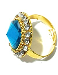 Diva Traditional & Ethnic Gold Plated Finger Ring For Women BLUE (Adjustable)