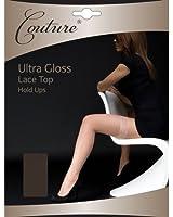 Couture Damen Ultra Glanz Halterlose Strümpfe mit Spitzenabschluss