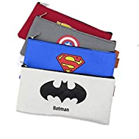 4pcs/set Superhero Batman Pencil Case Anime Big Capacity Oxford Cloth Pencil Bag Box Stationery for Kids Boys School Supplies Tool