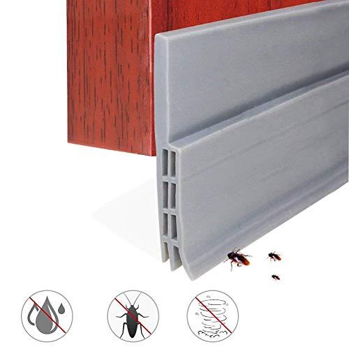 Expower guarnizione sottoporta in gomma adesivo pellicola insonorizzata antispiffero antivento striscia di sigillatura paraspifferi porta antipolvere (100cm x 5cm grigio)