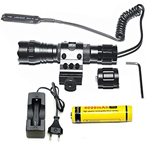 LMJ-CN® torcia elettrica tattica 1000 lm 3-18V 1 Light Mode e l'interruttore tattico con il 45 ° scatola laterale Picatinny Mount set