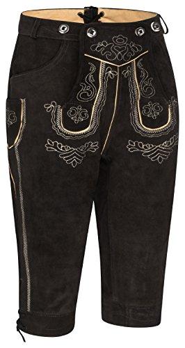Herren Trachten Lederhose Kniebund mit Träger in Verschiedenen Farben (50 schwarz)
