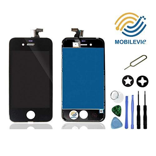 Mobilevie Ecran LCD Retina + Vitre Tactile sur châssis pour Iphone 4s Noir + Outils