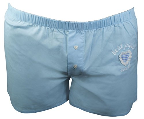 Boxershorts Boxer Shorts Unterwäsche Herren Stickerei Best Papa Ever Hellblau 100% Baumwolle Größe L Fairtrade Ringelsuse