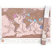 Luckies of London World Map,  Scratch Map, Rose Gold
