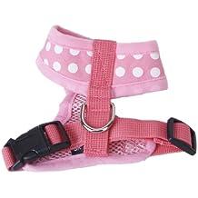 Suave Ropa Vestido de Traje Malla Arnés Polca para Mascotas Perro S Rosa Blanco