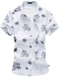 Zhhlinyuan Camisa de la flor de los hombres Mens Flower Print Summer Linen Beach Short Sleeve Shirts T-shirt Button Down Shirts