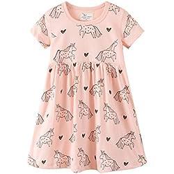 Bebé Niñas Vestidos,Vestido Casual de Manga Larga con Estampado Animal de Dinosaurio para 1-7 años (6-7 Años, Rosa Pegaso)