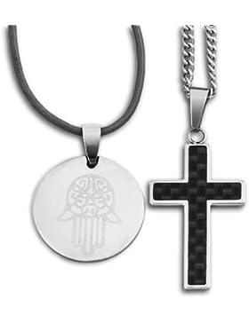 Hamsa Anhänger mit 24-Zoll Halskette und einem Geschenk - Schwarzes Carbonfaser Kreuz