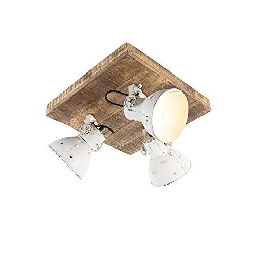 QAZQA Industrie/Industrial IndustrieSpot/Spotlight/Deckenspot/Deckenstrahler/Strahler/Lampe/Leuchte weiss mit Mangoholz 3-flammig Spotbalken-Licht - Mangos/Innenbeleuchtung/Wohnzimme