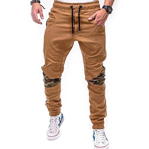 Ba Zha Hei Mode Männer Persönlichkeit Freizeit Einfarbig Nähen Bewegung Hose Mode Herren Sport Camouflage Lasch Gürtel Lose Jogginghose Kordelzug Skinny Slim Fit (XL, Khaki)